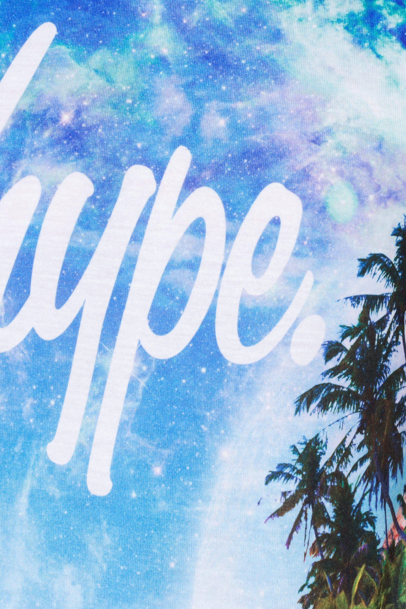 Hype Blue Space Tropics Script Kids T-Shirt