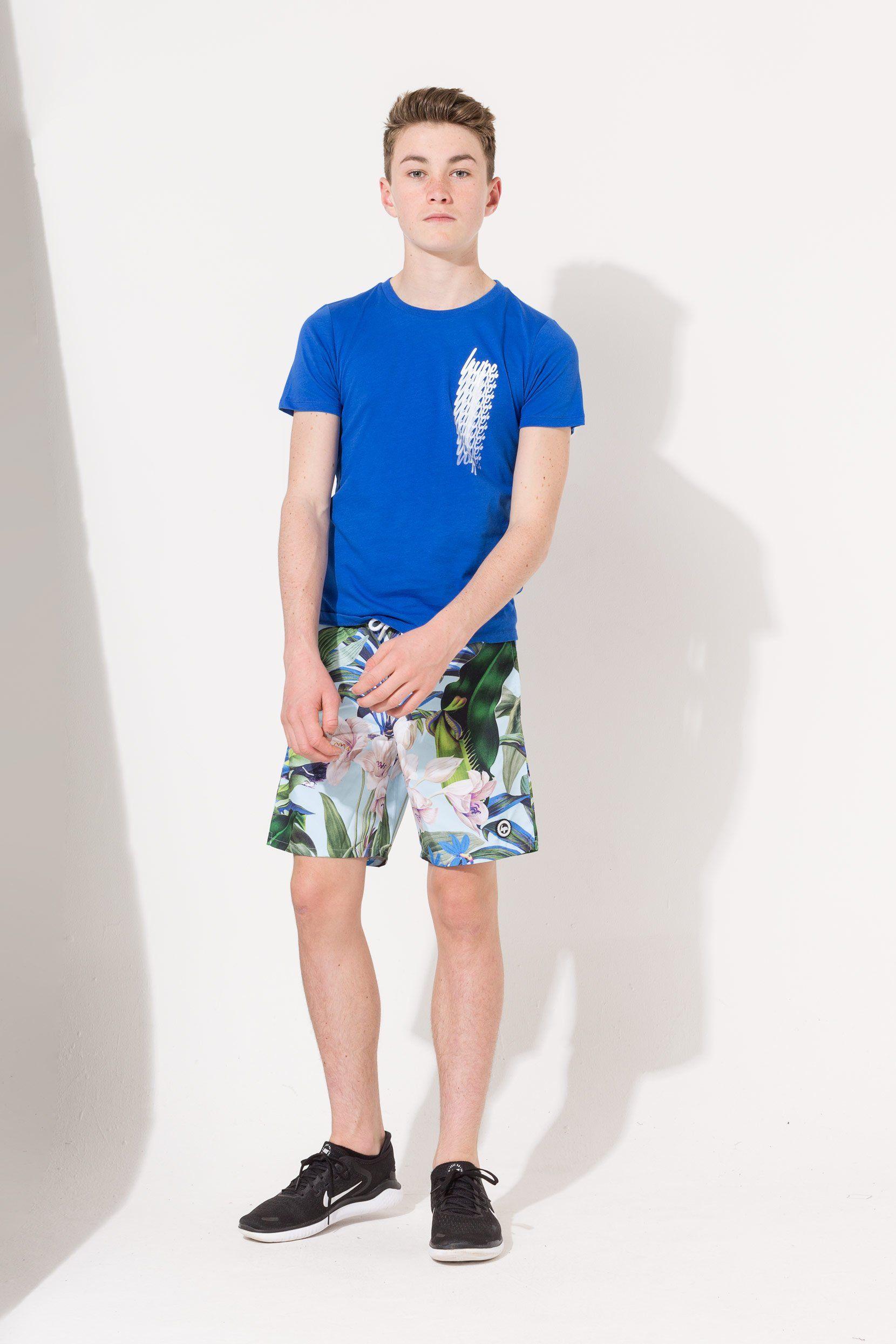 Hype Cyan Tropics Kids Swim Shorts