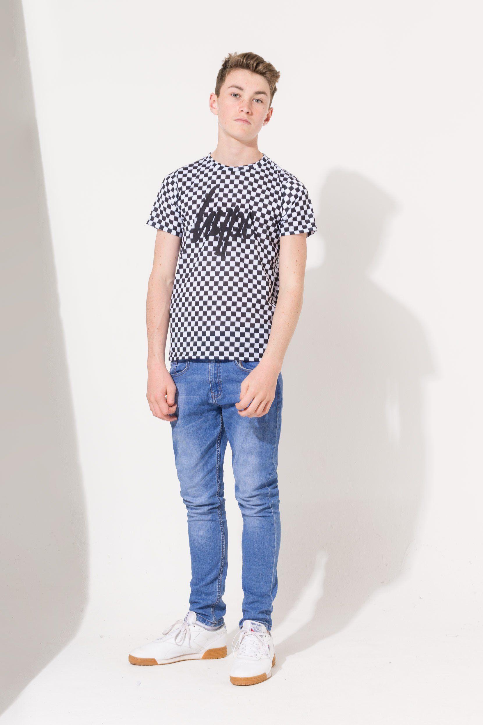 Hype Black Checkerboard Script Kids T-Shirt
