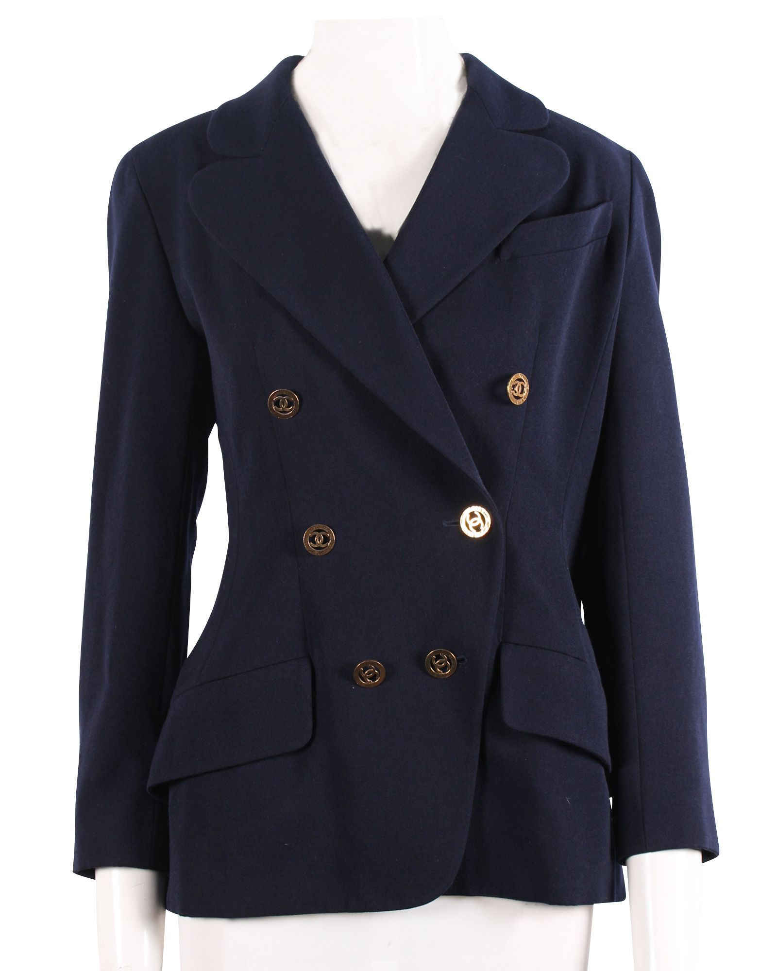Chanel Navy Blue Jacket With Gold Buttons -Pre Owned Condition Gently Loved