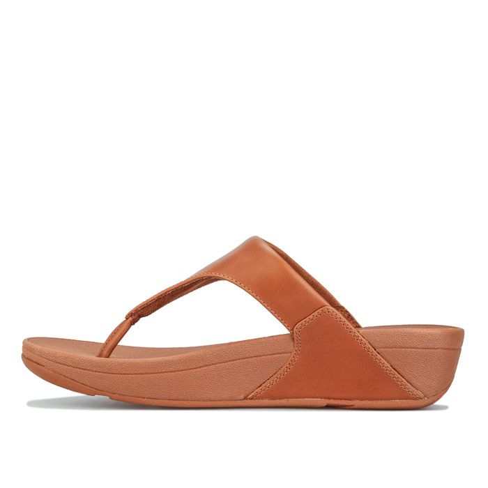 Women's Fit Flop Lulu Leather Toe Thong Sandals in Camel