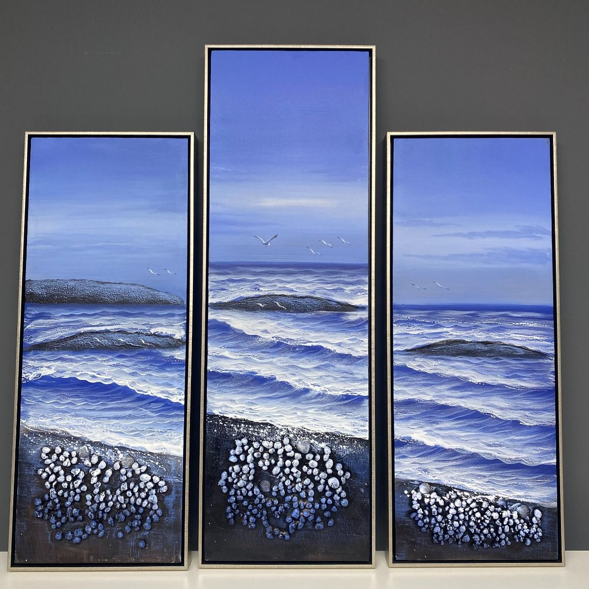 Beach Shells 1 Painted Canvas with Silver Frame 40x100