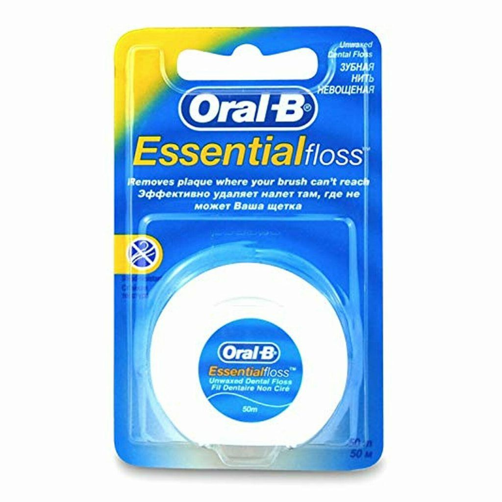 Oral B Interdent Wire Essential Dental Floss Unwaxed 50m
