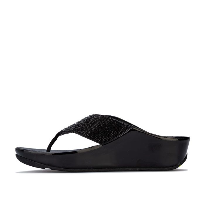 Women's Fit Flop Crystall Toe Thong Sandals in Black