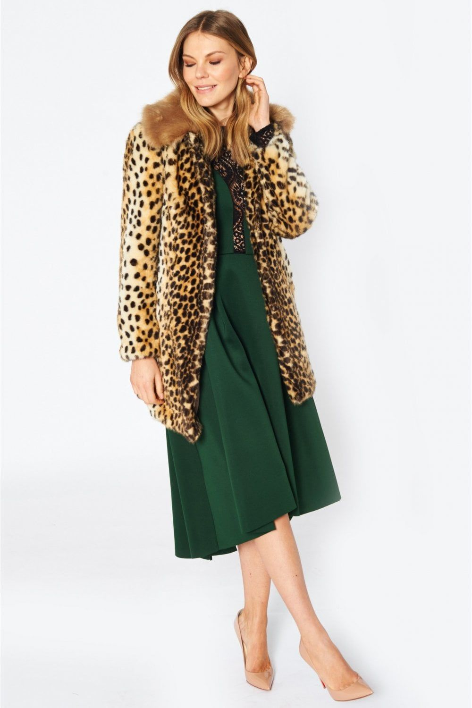 Jayley Faux Fur Cheetah Print Coat