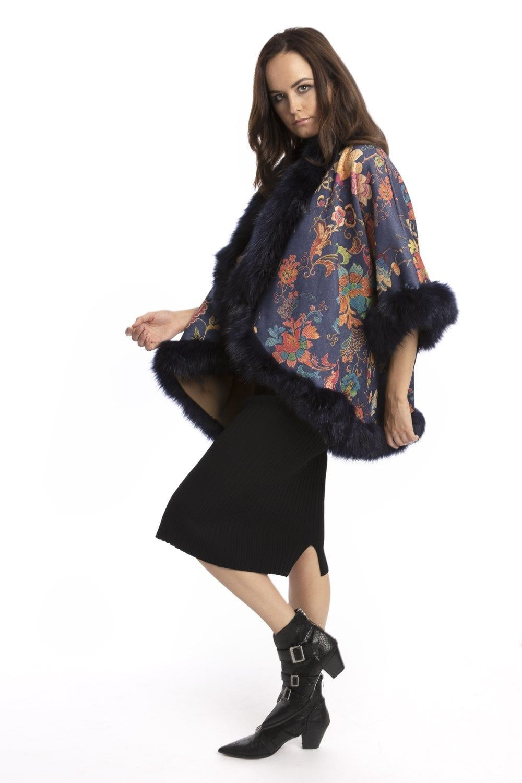 Jayley Faux Fur Suede Cape Patterned Jacket