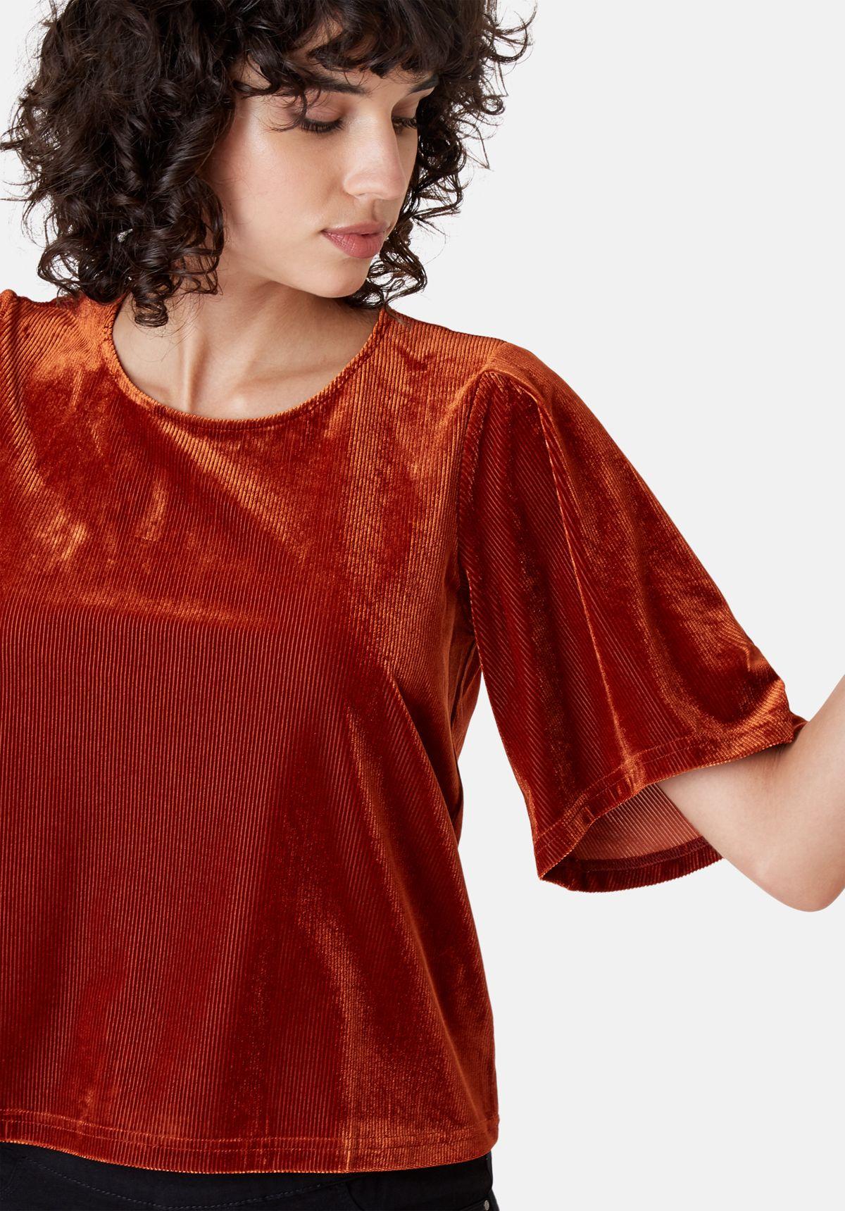Whisper Short Sleeve Top in Rust Brown
