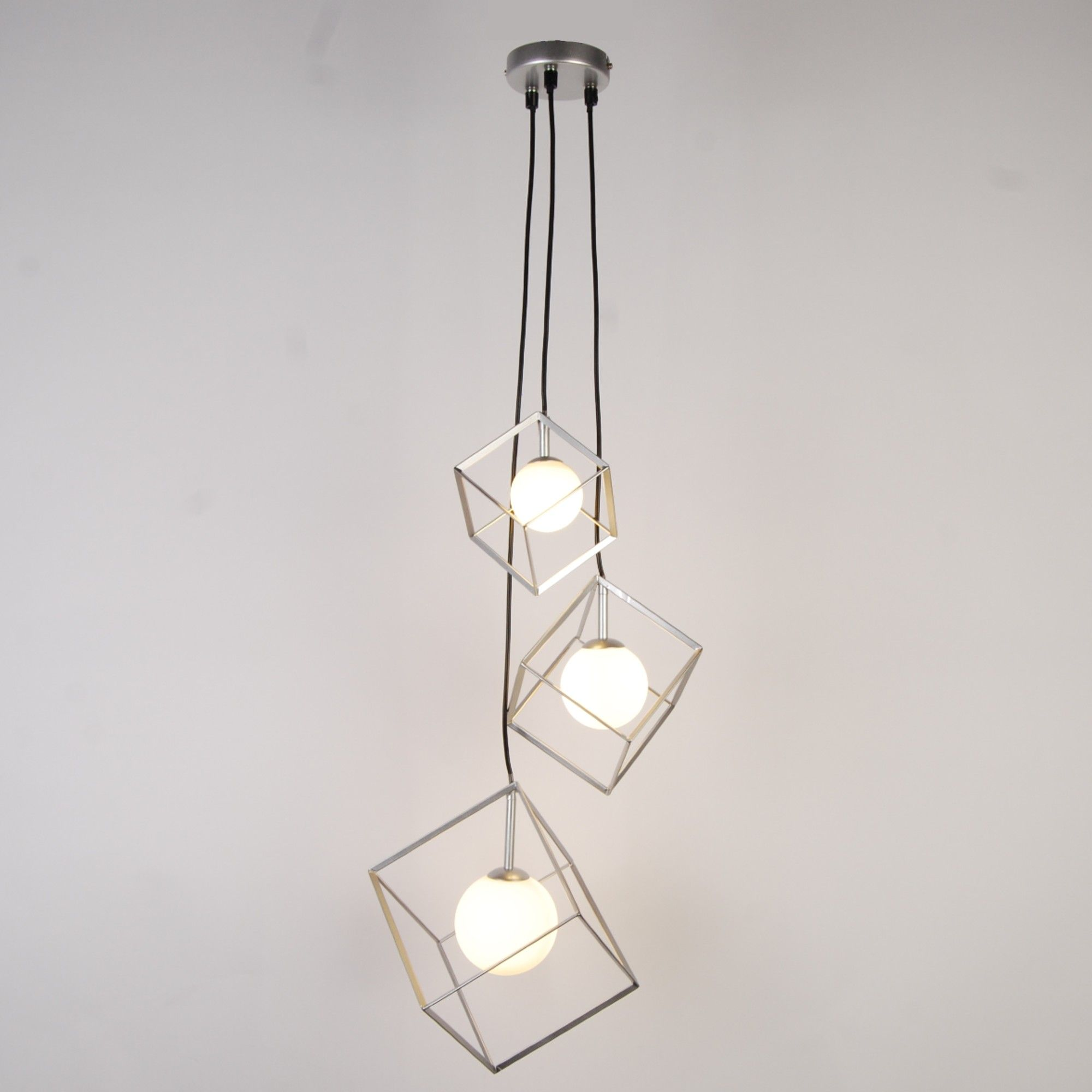 Villem 3 Light Silver Pendant Ceiling Light