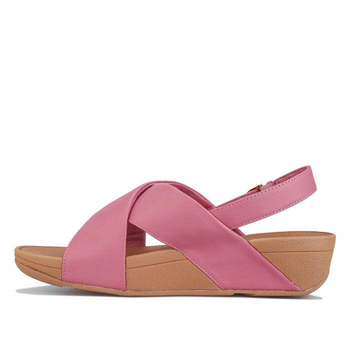 Women's Fit Flop Lulu Leather Cross Back Strap Sandals in Pink