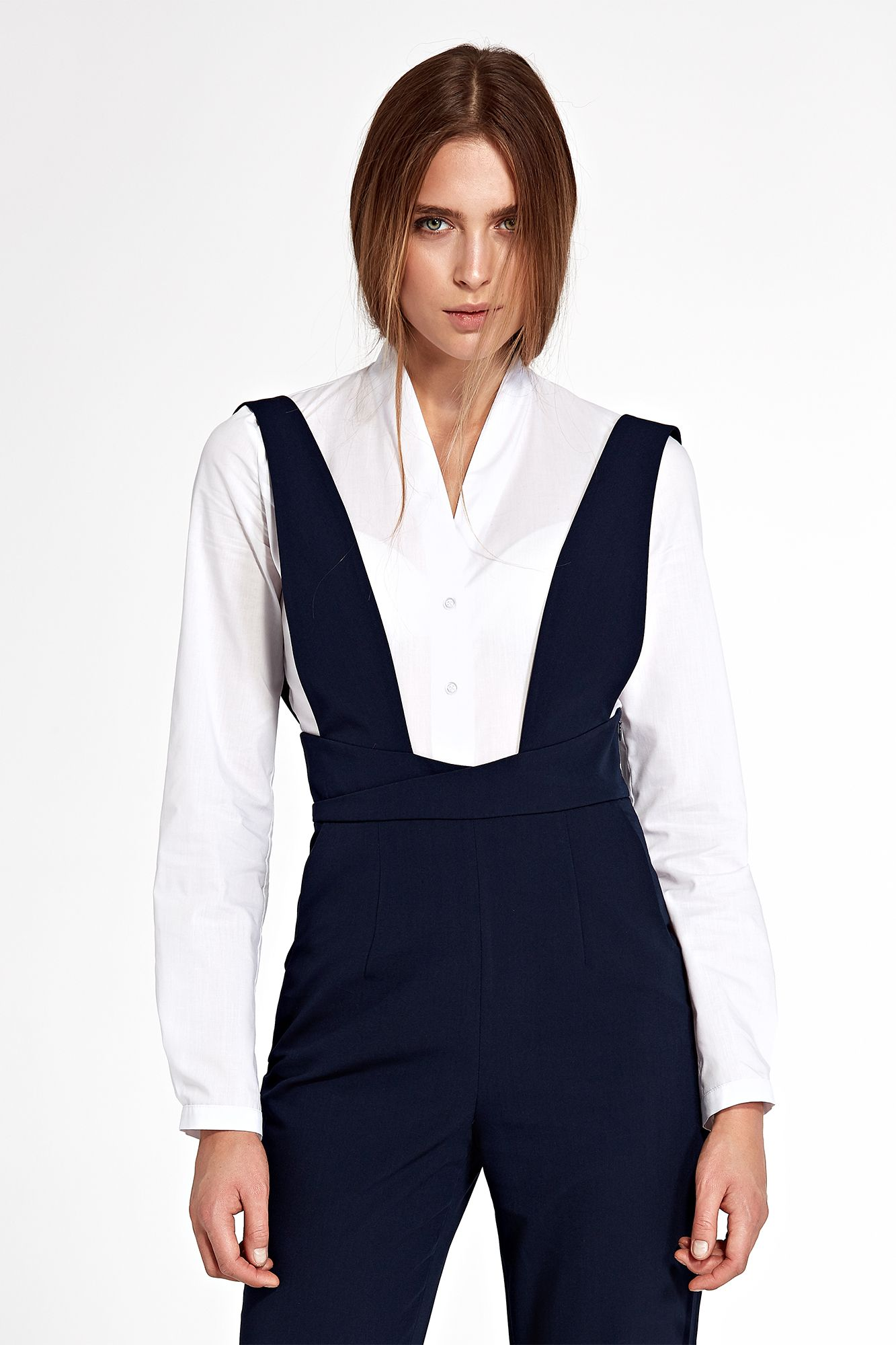 Body shirt without collar - white