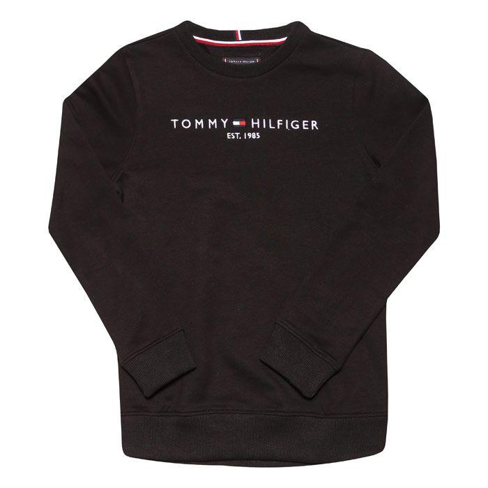Boys' Tommy Hilfiger Junior Essential Crew Sweat in Black