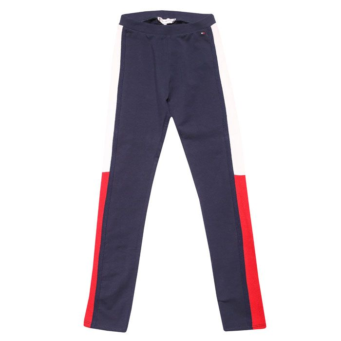 Girls' Tommy Hilfiger Junior Icons Slim Logo Jog Pant in Navy