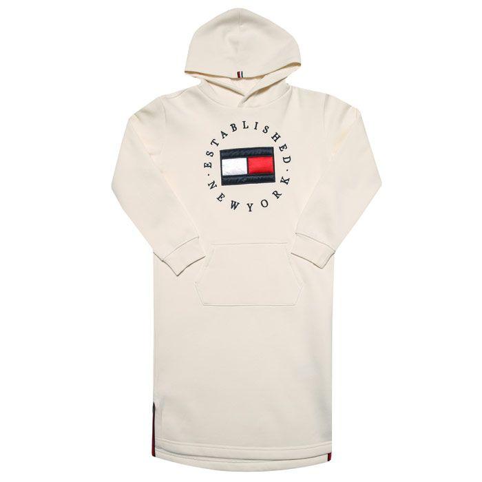 Girls' Tommy Hilfiger Junior Heritage Logo Hood Dress in Off White