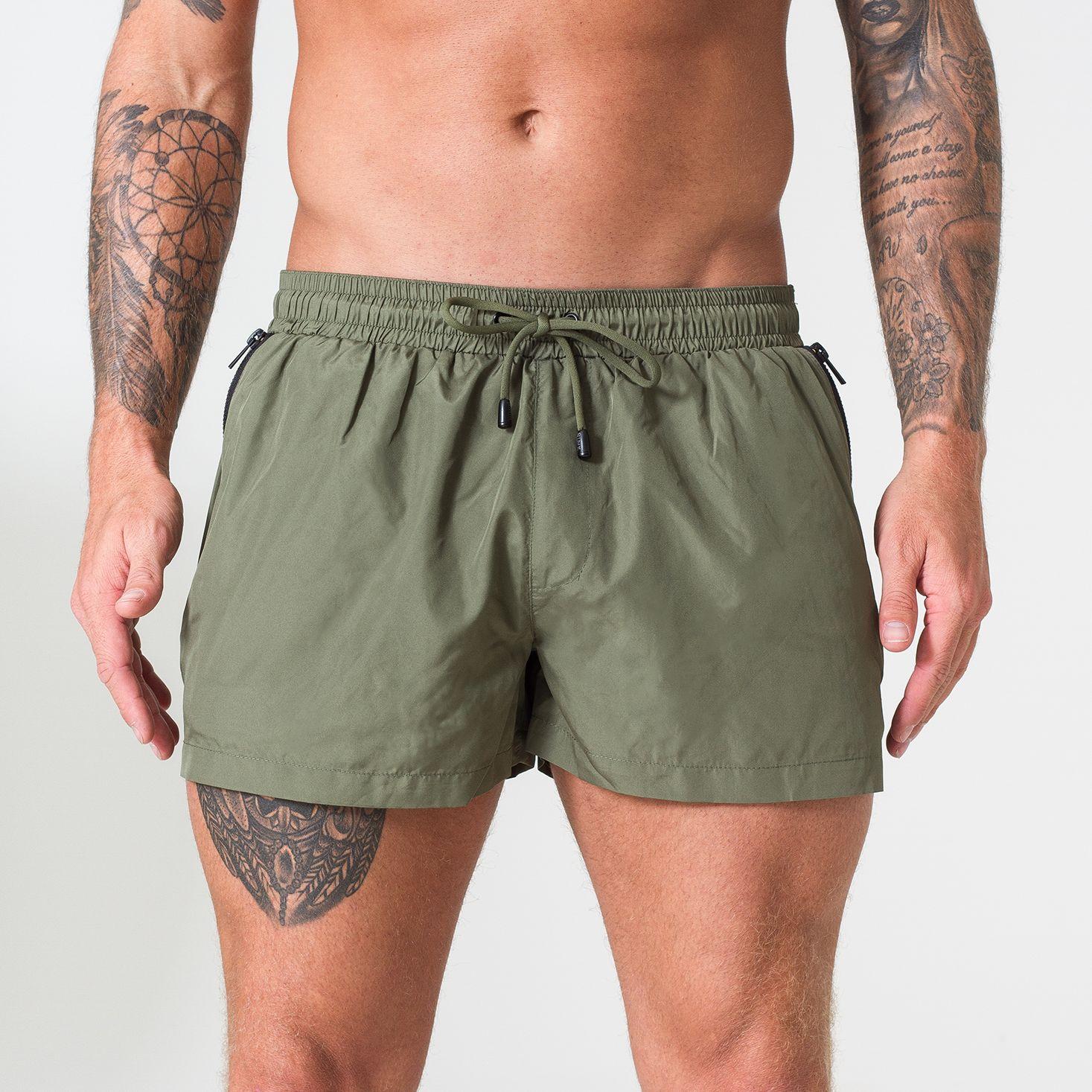 Signature Khaki Swim Shorts with Matte Black Detailing