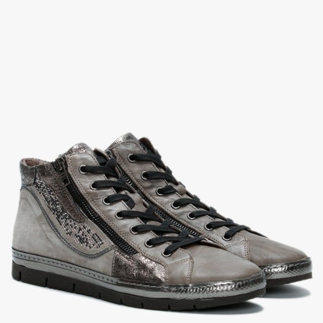 Khrio Leather & Suede Embellished High Top Trainers