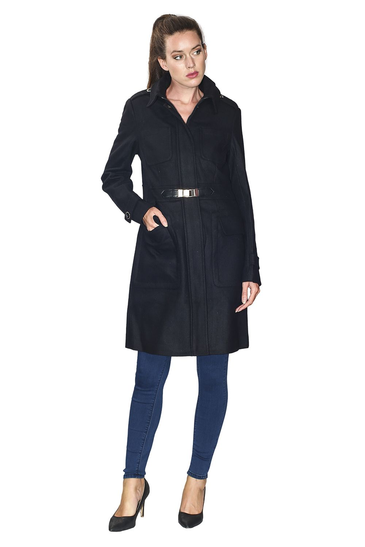 Assuili Long Coat with Shoulder Pads in Black
