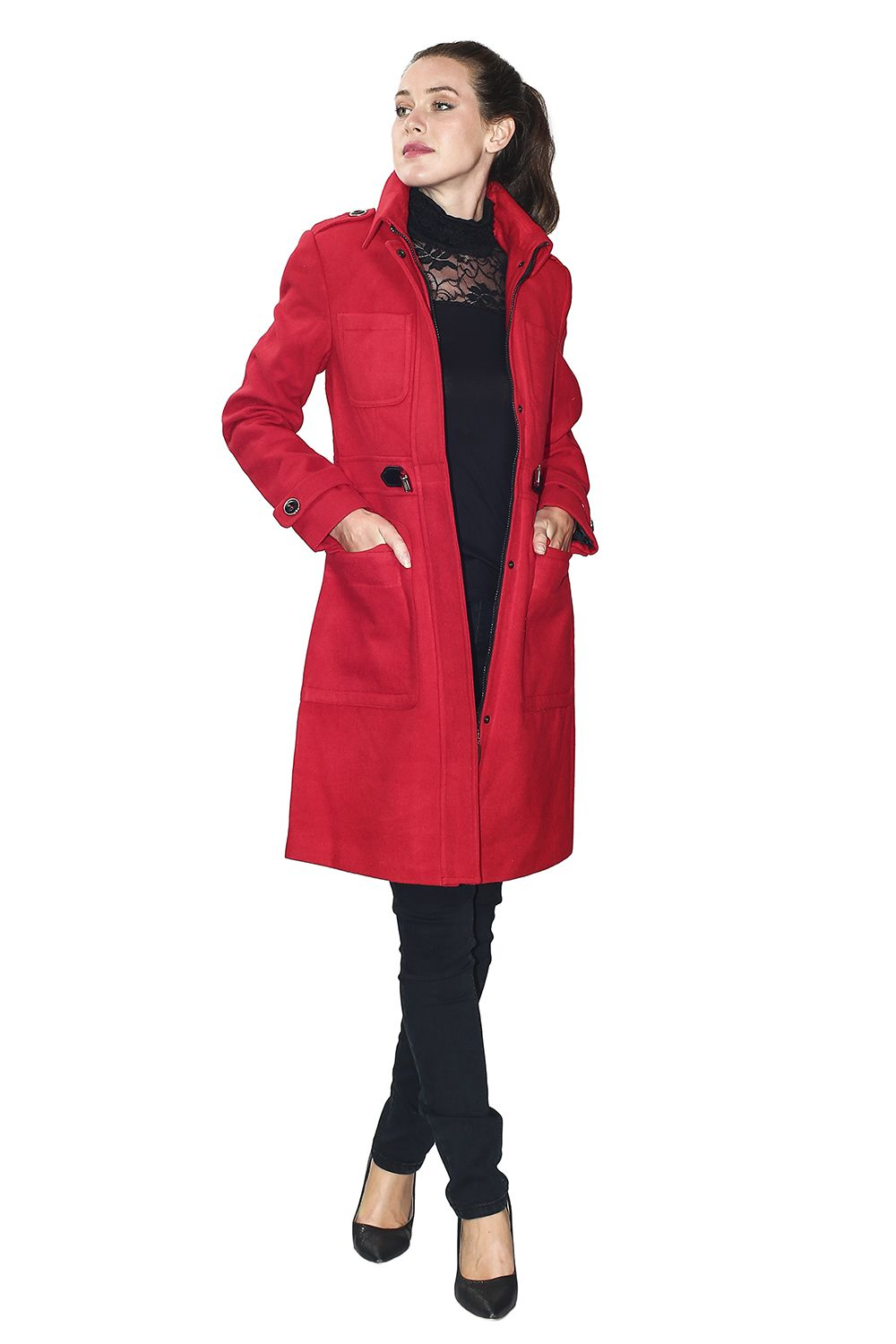 Assuili Long Coat with Shoulder Pads in Red