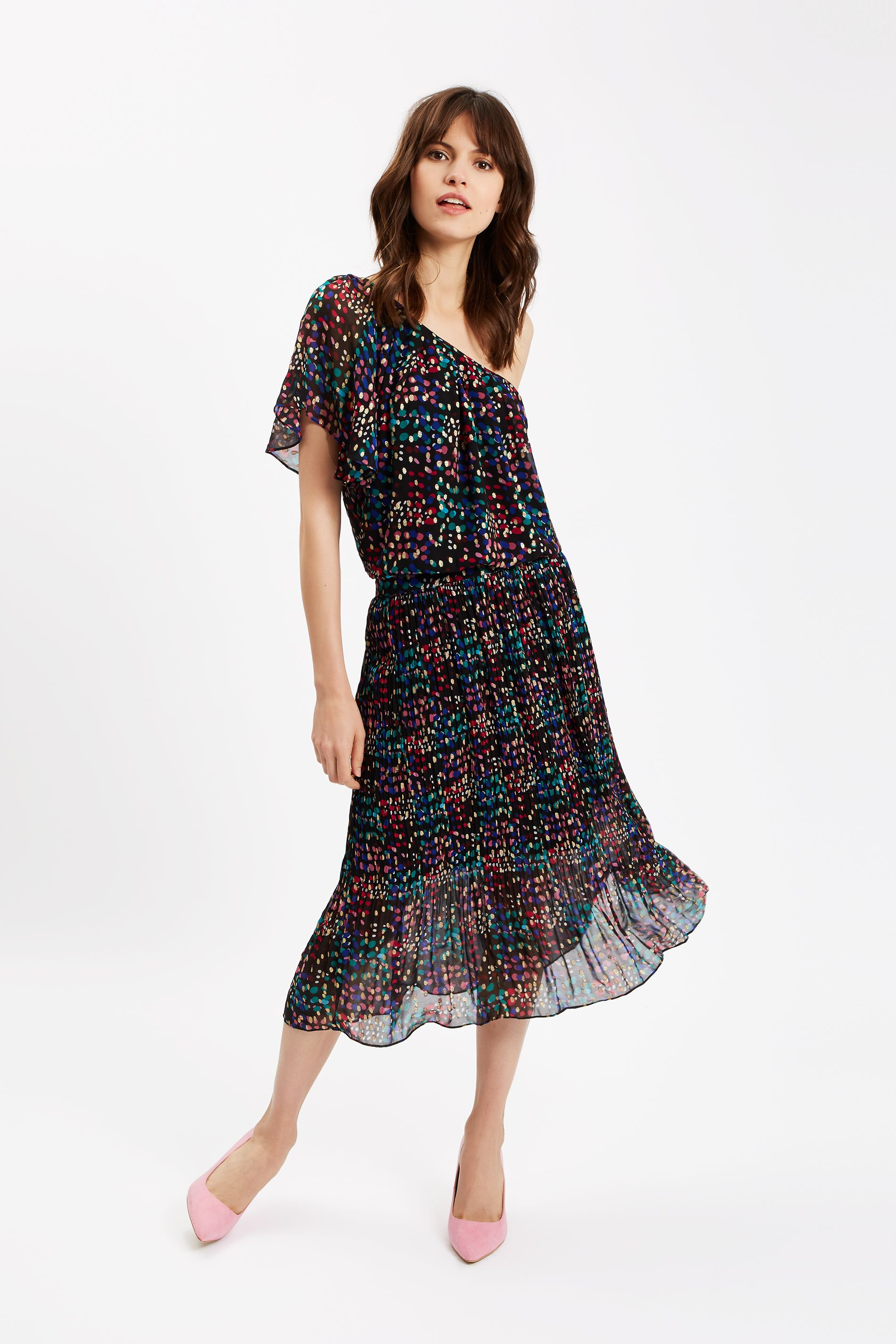 Amorous Polka Dot One Shoulder Dress in Black