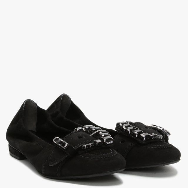 Kennel & Schmenger Malu Suede Embellished Buckle Ballet Pumps