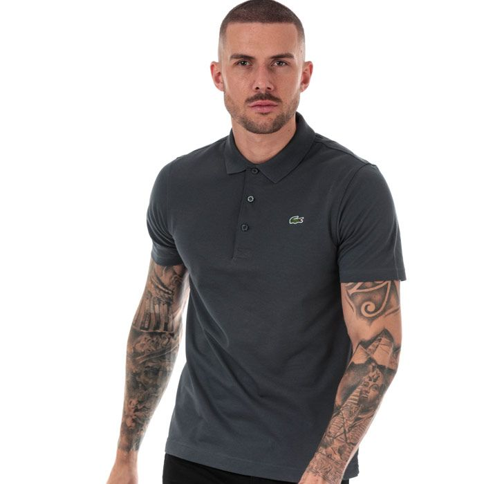 Men's Lacoste Regular Fit Tennis Lightweight Polo Shirt in Charcoal