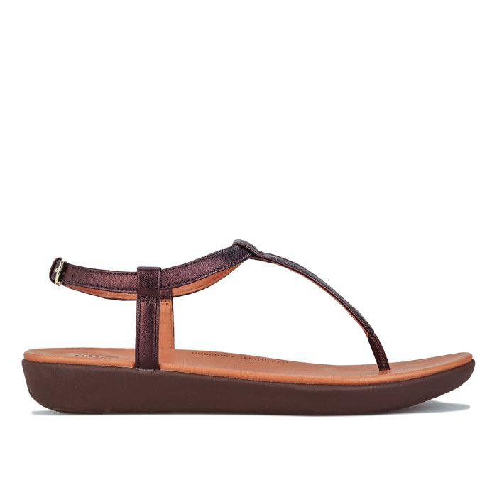 Women's Fit Flop Tia Leather Toe Thong Sandals in Chocolate