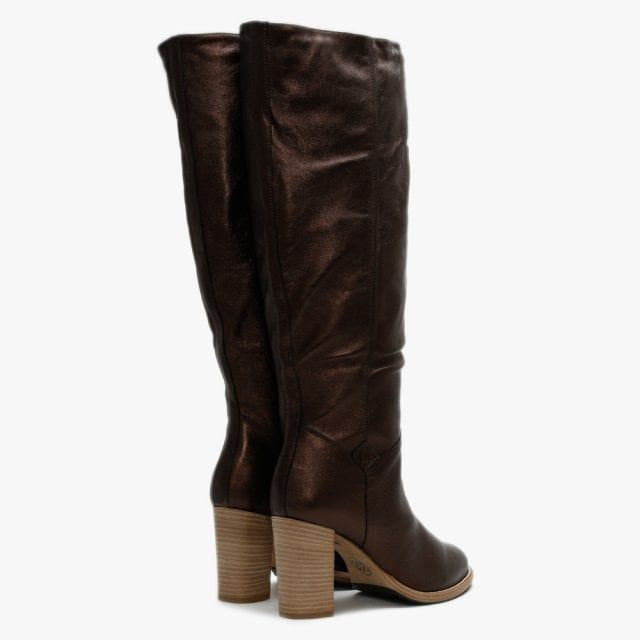 Lamica Metallic Leather Knee High Boots