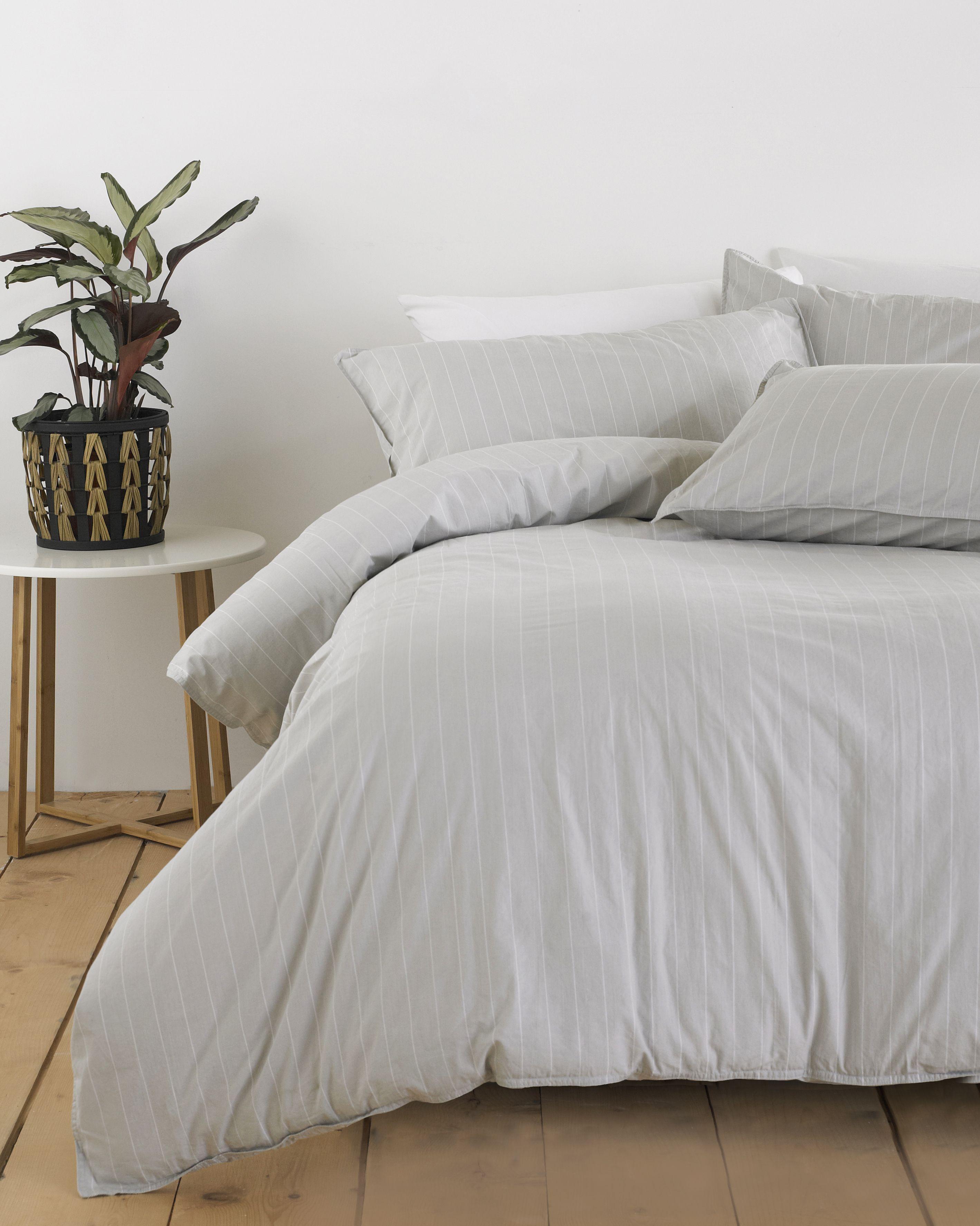 Linear Duvet Set Grey/White