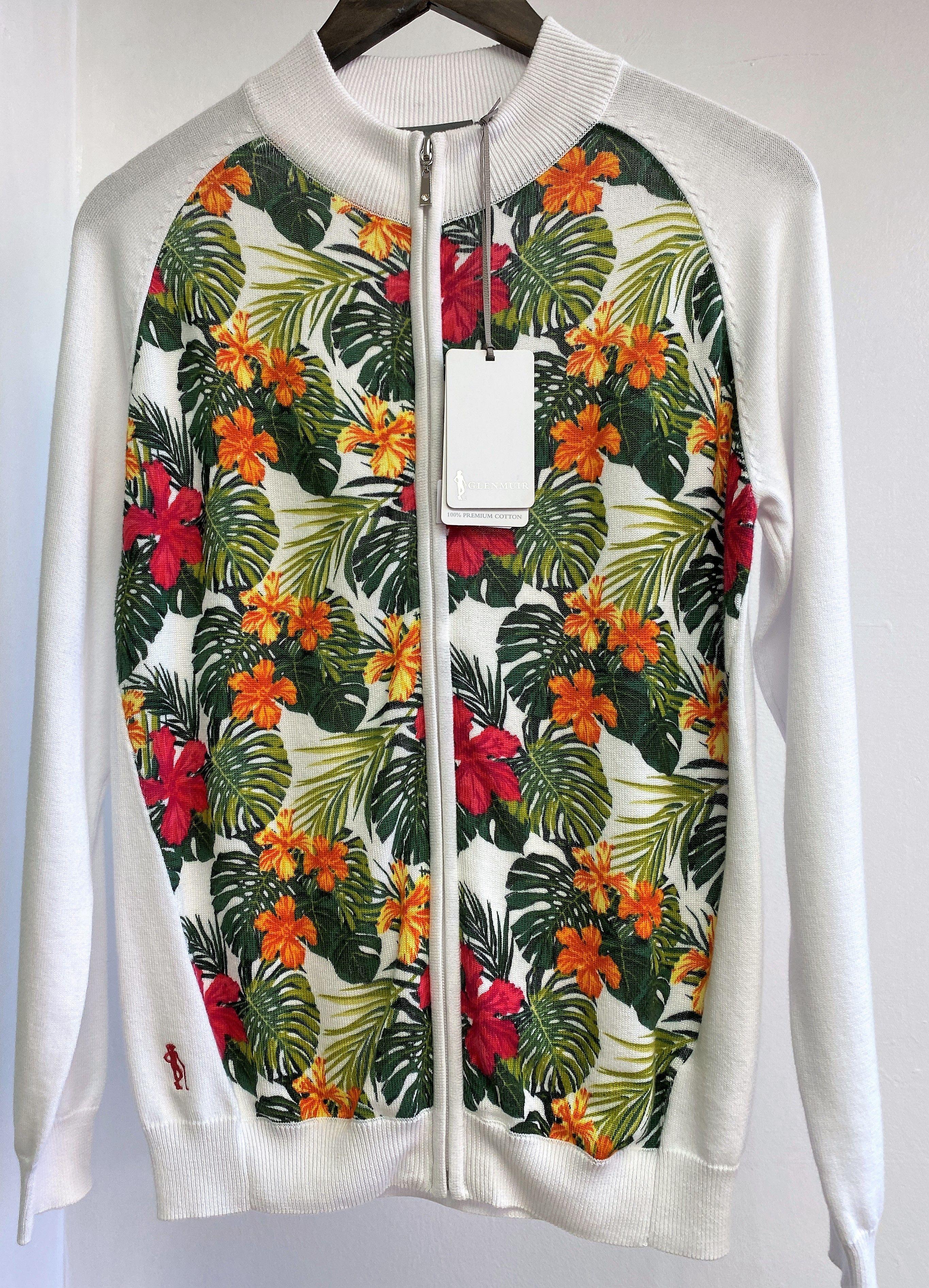 White/Daiquiri Zip Up Pattern Cardigan