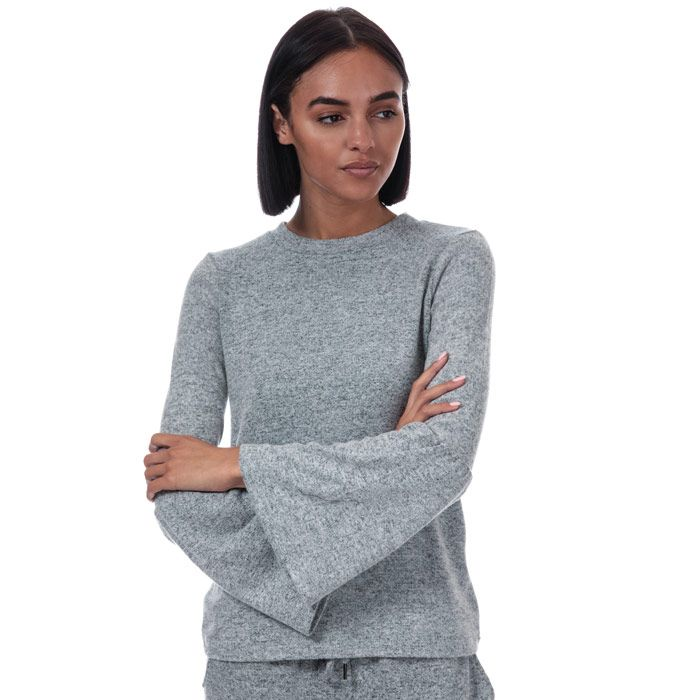 Women's Brave Soul Brushed Fluted Sleeve Top in Grey Marl
