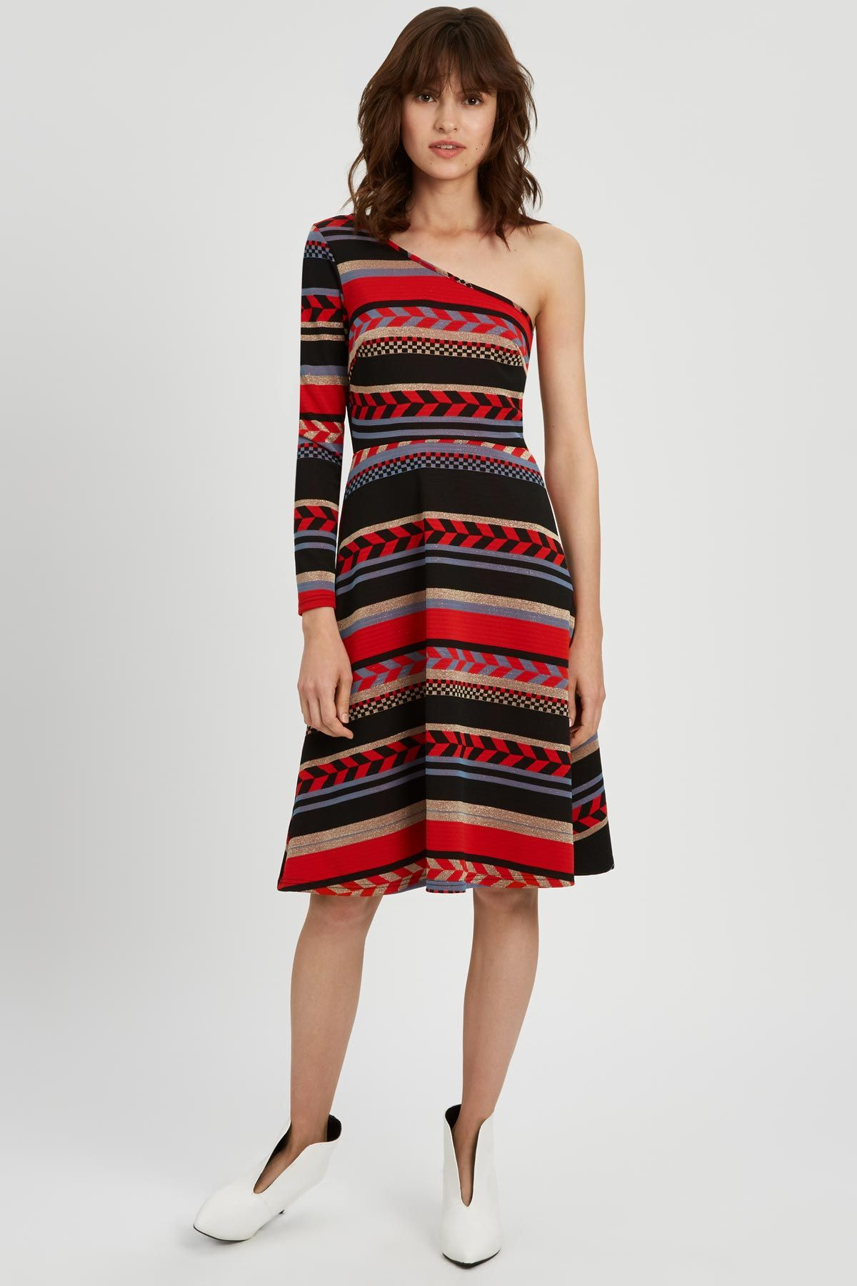 Debbie One Shoulder Midi Party Dress in Red