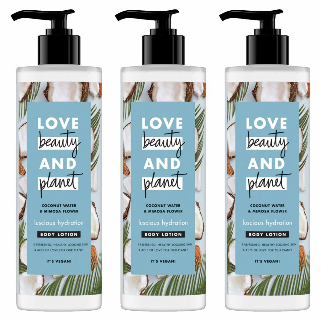 Love Beauty & Planet Luscious Hydration Coconut Water & Mimosa Flower Body Lotion 400ml (Pack of 3)