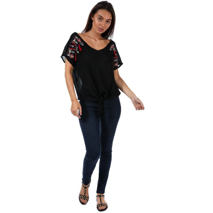Brave Soul Women's Embroidered Oversized T-Shirt in Black