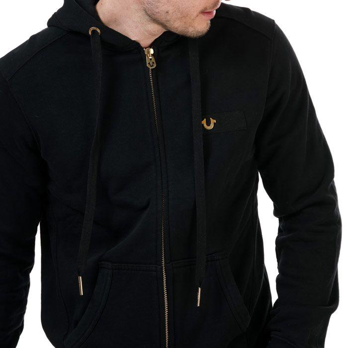 True Religion Men's Horseshoe Zip Hoodie in Black