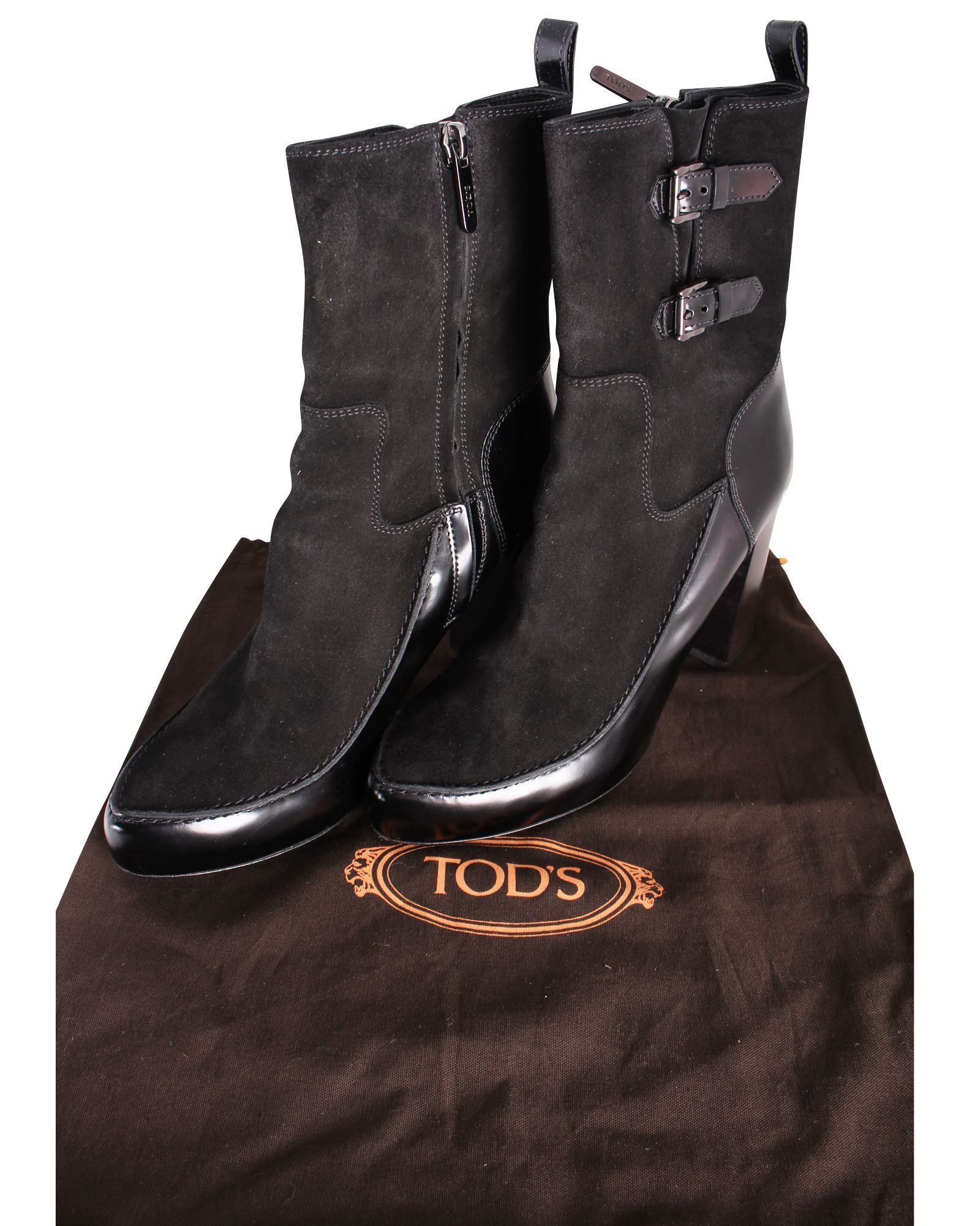 Tods Black Suede Boots With Straps