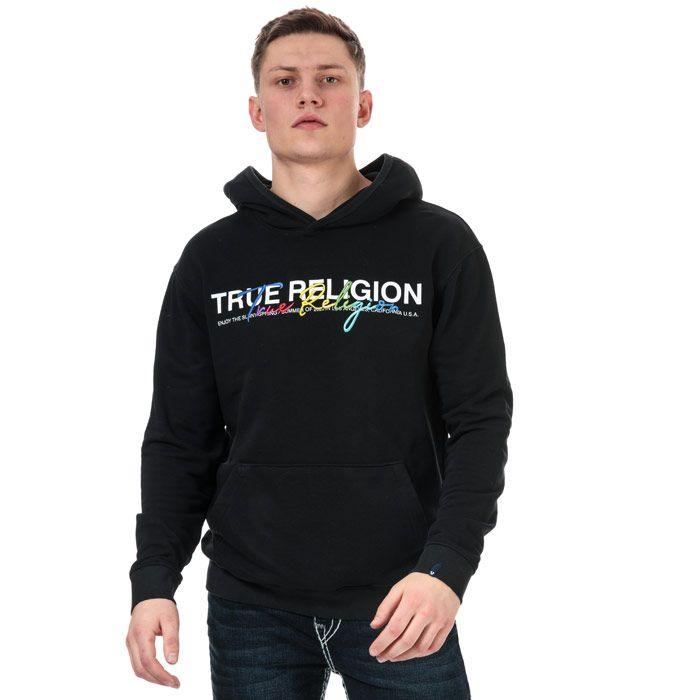 Men's True Religion Embroidered Hoody in Black