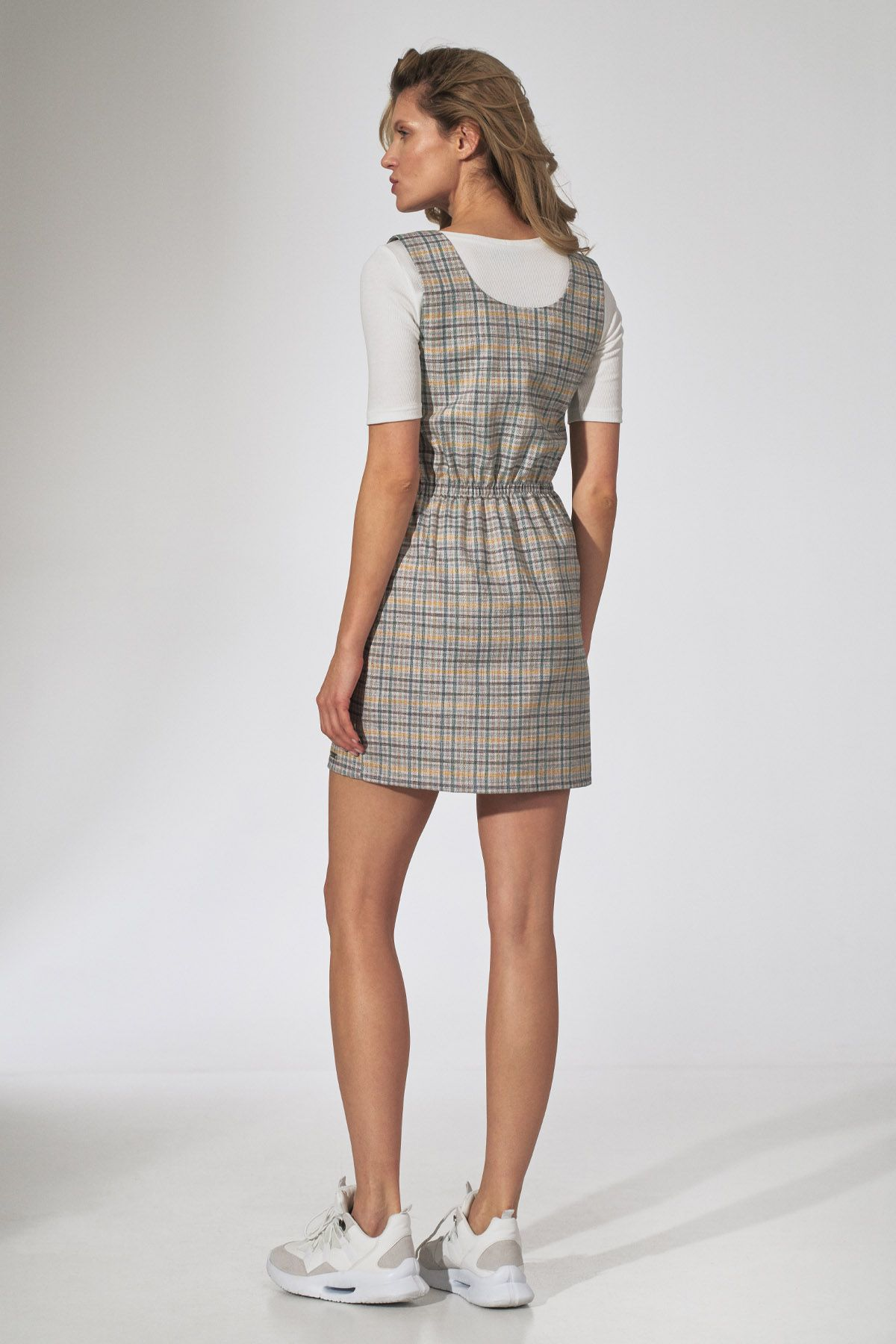 Checkered Dress with Braces