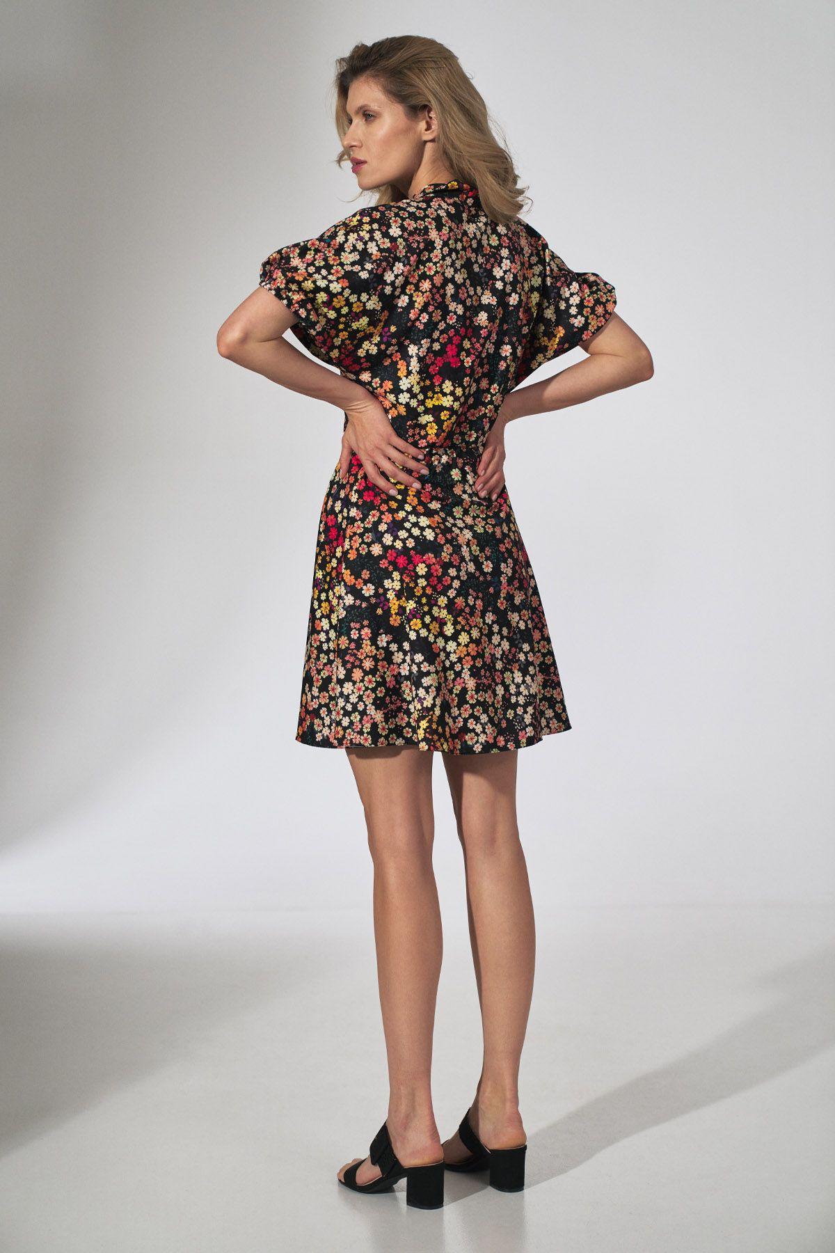 Flower Print Kimono Dress With a Collar