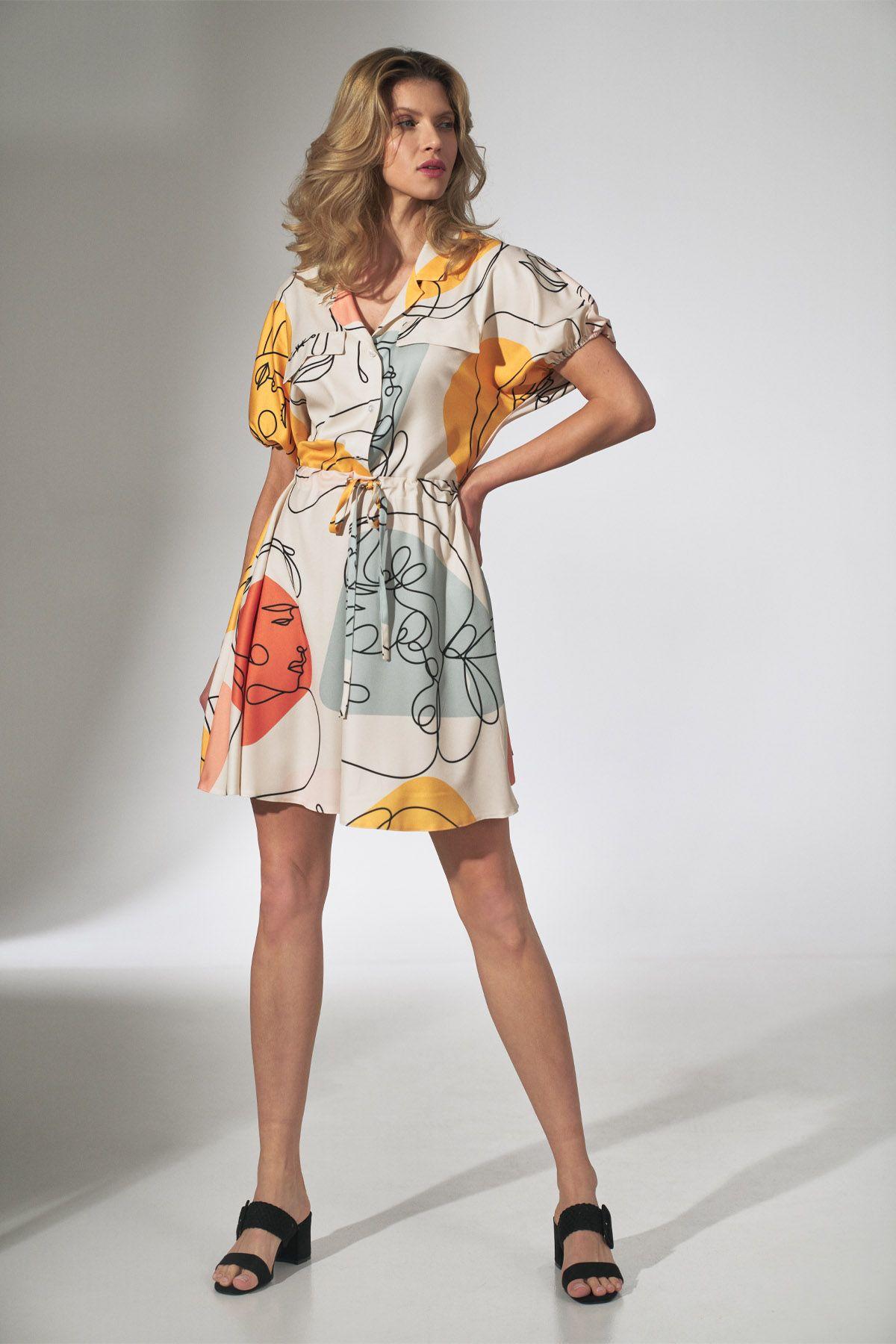 Faces Print Kimono Dress with Collar