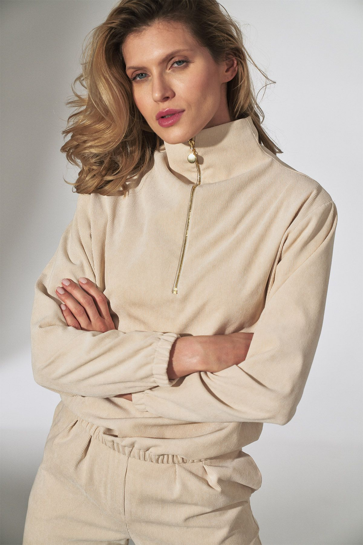Beige Corduroy Blouse with Stand-Up Collar