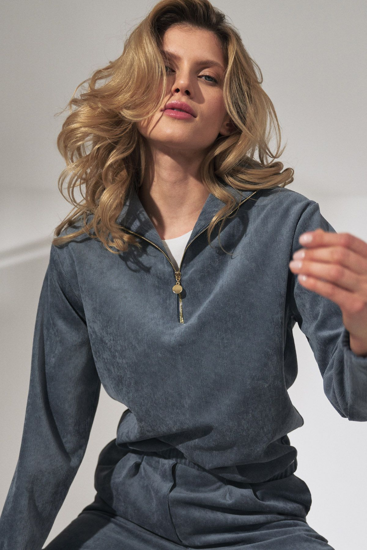 Blue Corduroy Blouse with Stand-Up Collar