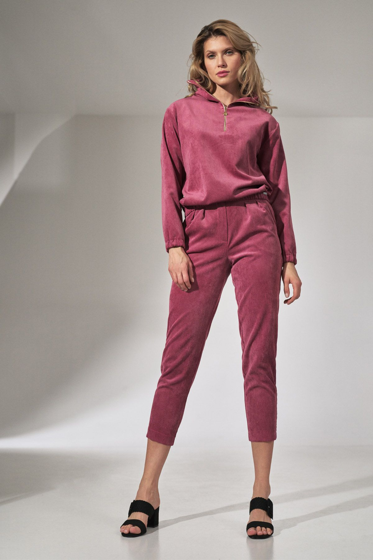 Pink Corduroy Blouse with Stand-Up Collar