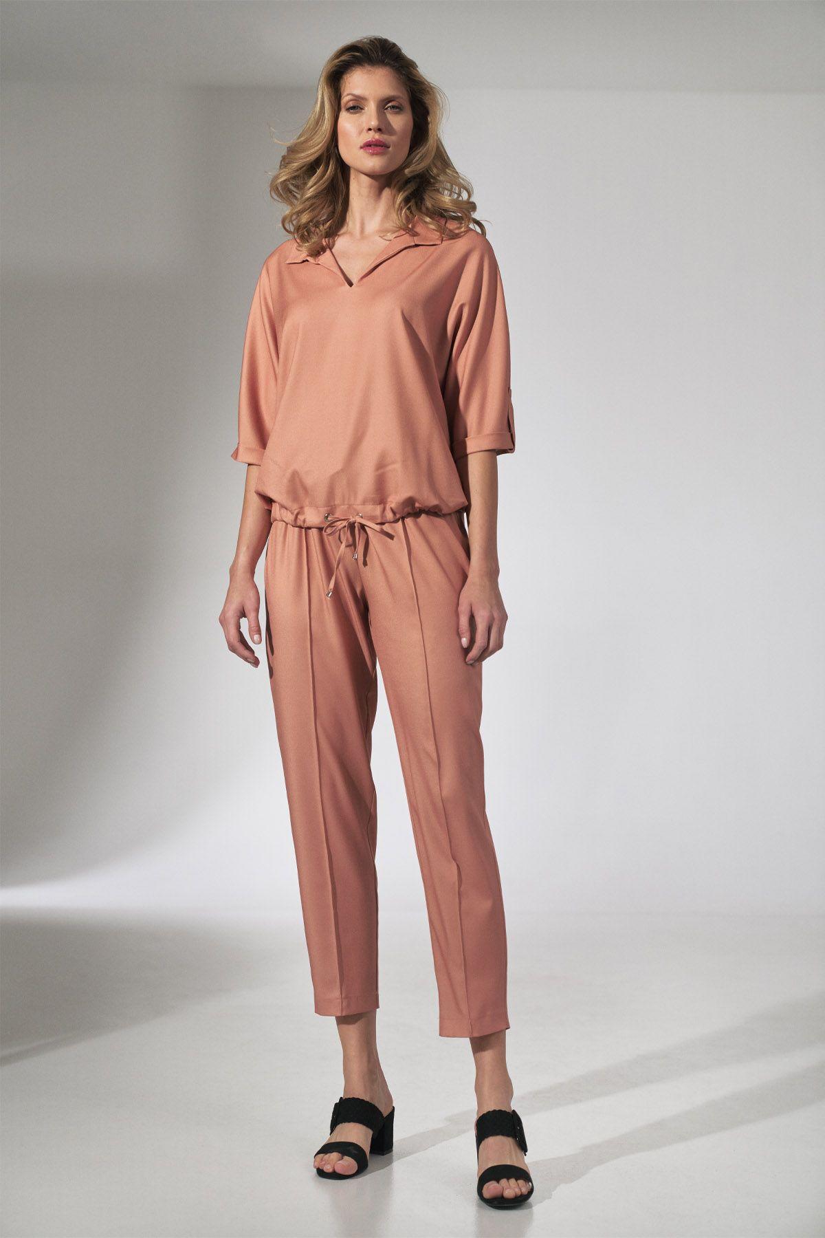 Orange Kimono Blouse with Collar