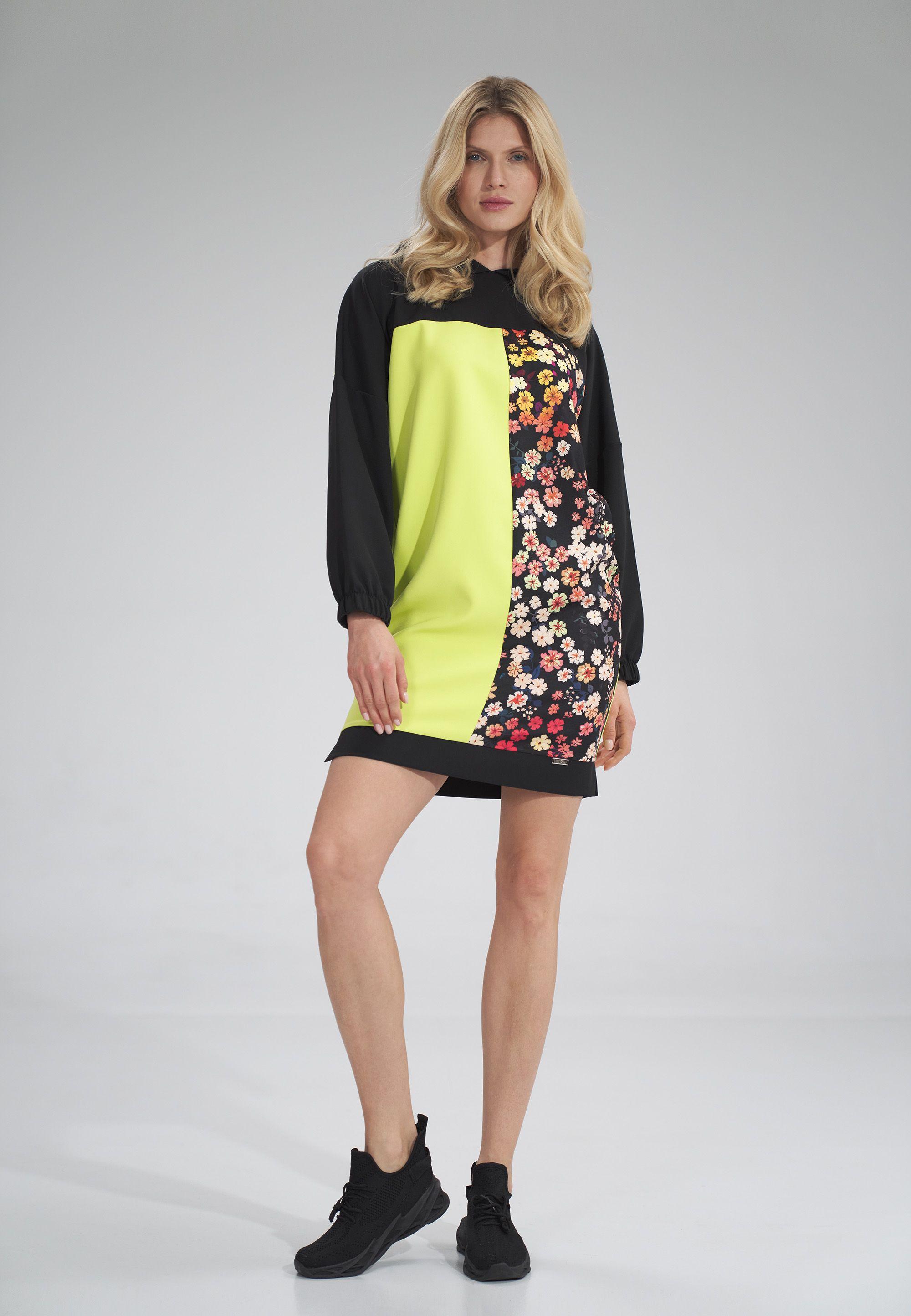 Three-Color Hooded Midi Dress