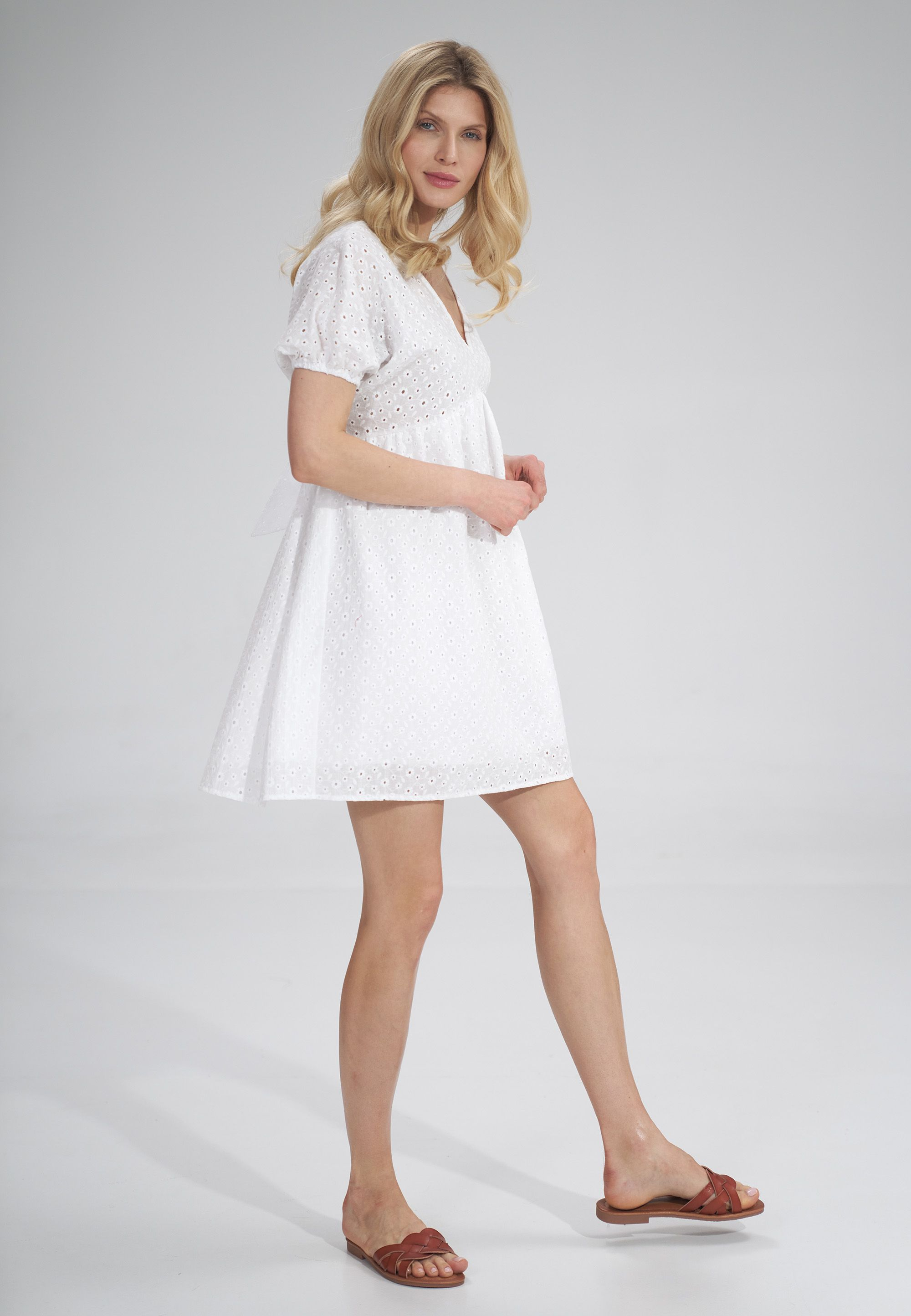 Embroidered Mini Dress with Short Puff Sleeves