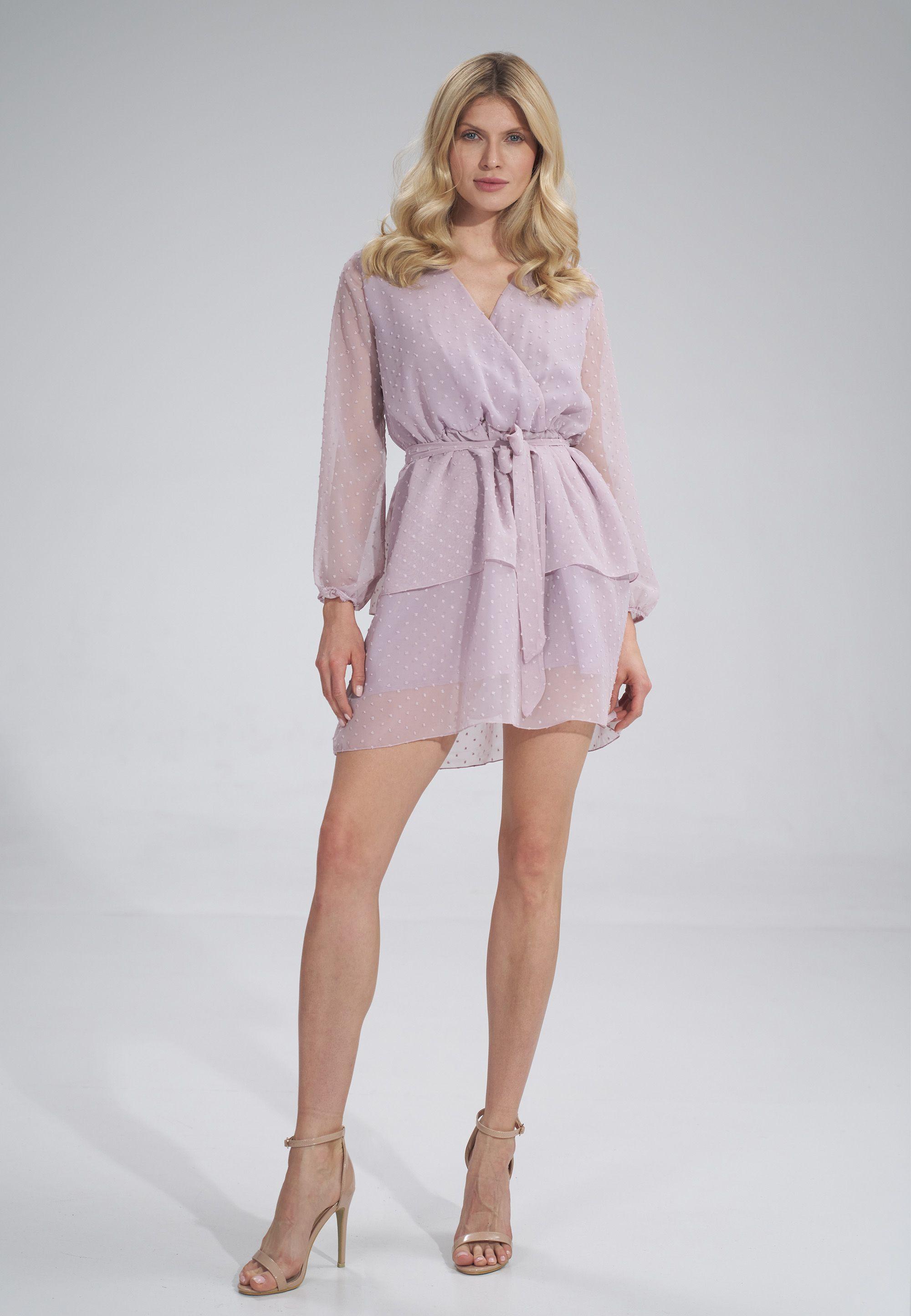 Airy Long Sleeve Chiffon Dress