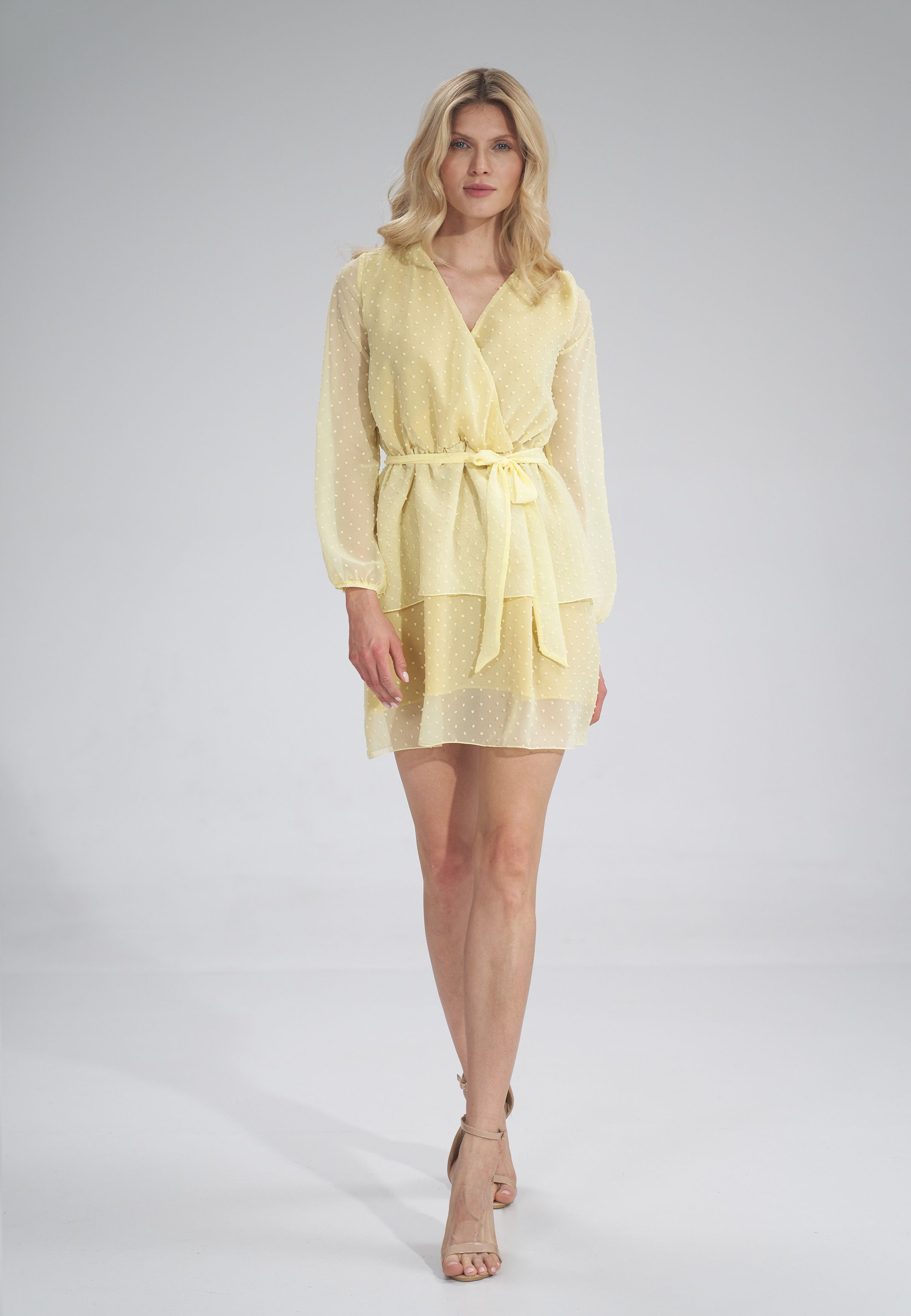 Airy chiffon dress with long sleeves