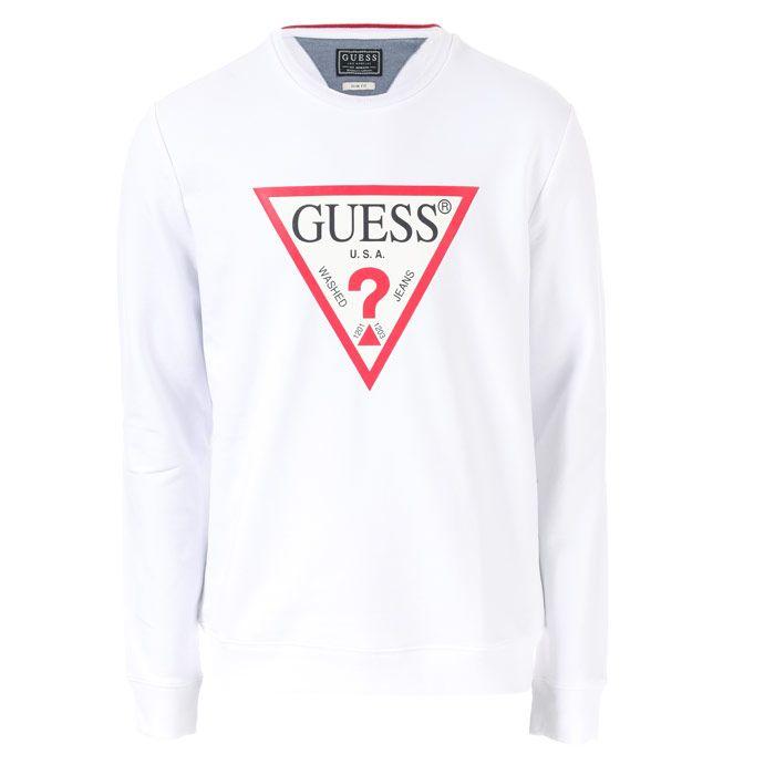 Men's Guess Core Logo Crew Sweatshirt in White