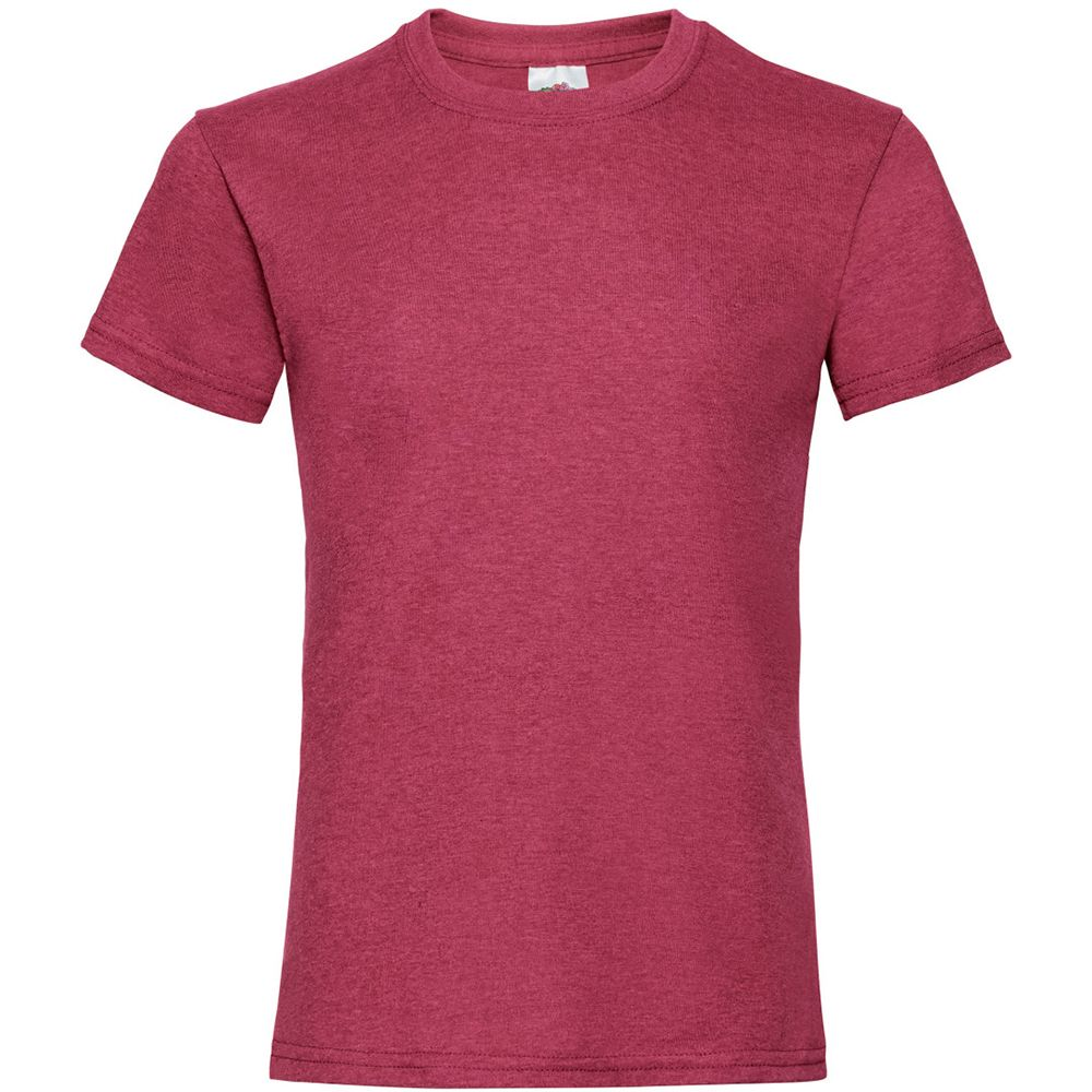 Fruit Of The Loom Girls Childrens Valueweight Short Sleeve T-Shirt (Pack of 5) (Vintage Heather Red)