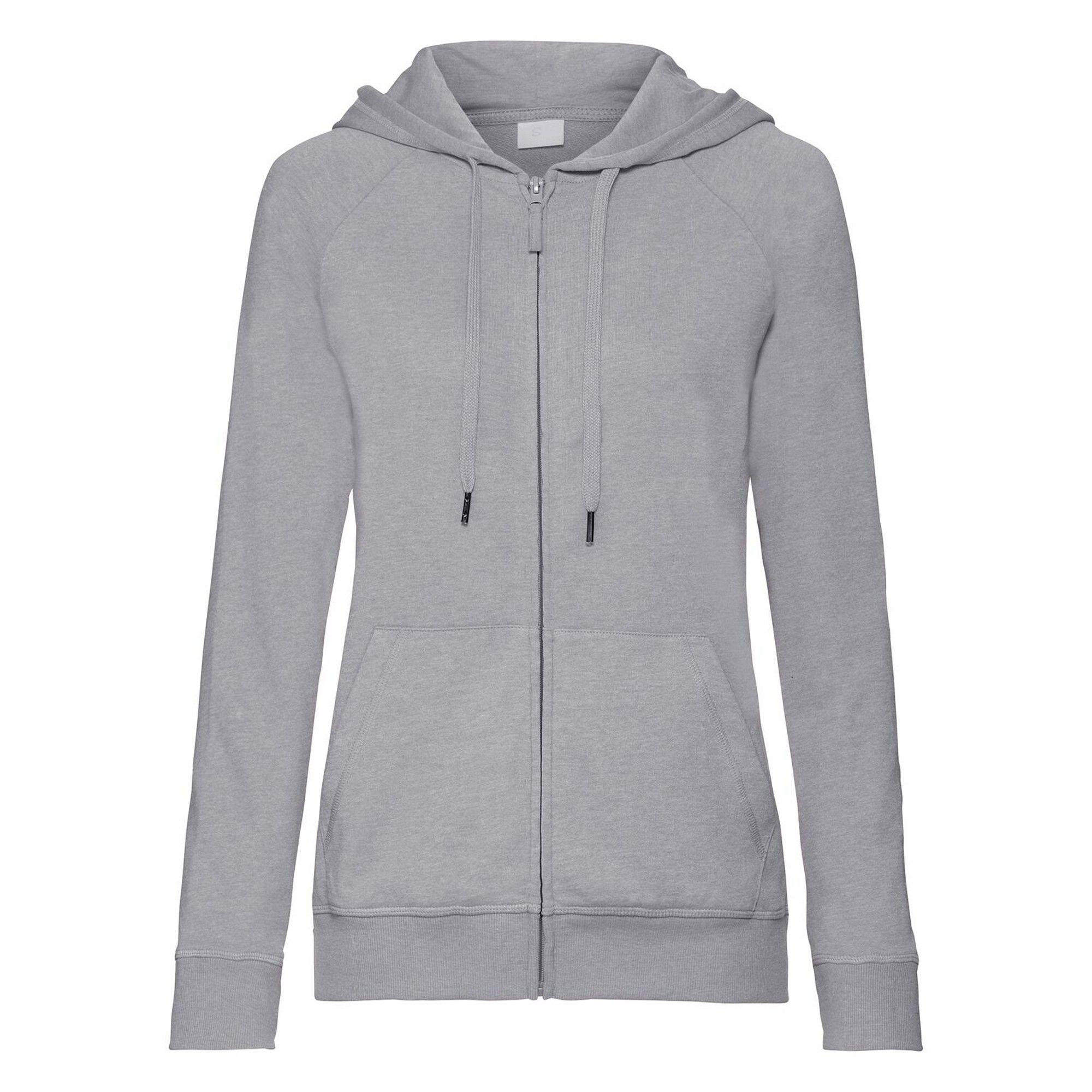 Russell Womens/Ladies HD Zip Hooded Sweatshirt (Silver Marl)