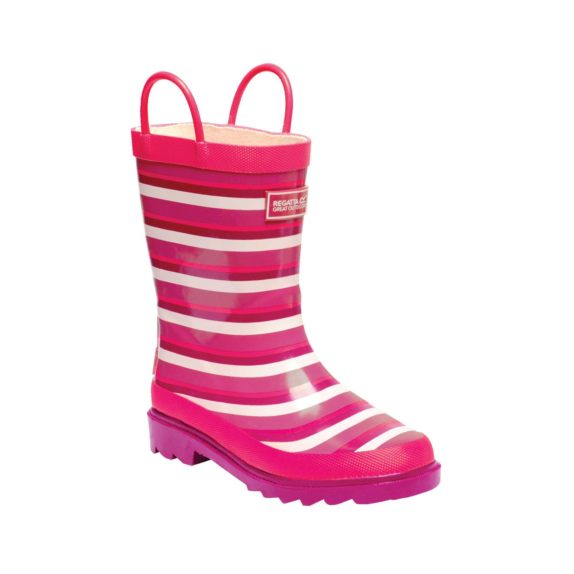 Regatta Great Outdoors Childrens/Kids Minnow Patterned Wellington Boots (Peach Bloom/Dark Cerise)